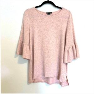 Adrianna Papell 3/4 Bell Sleeve Heather Pink Top